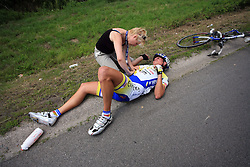 Artur Krol of Poland (Centri Della Calzatura - Partizan) felt and broken arm in Grosuplje during 1st stage of the 15th Tour de Slovenie from Ljubljana to Postojna (161 km) , on June 11,2008, Slovenia. (Photo by Vid Ponikvar / Sportal Images)/ Sportida)