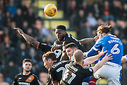 P6	Portsmouth defender Christian Burgess (6), Barnet defender Charlie Clough (41), Barnet defender Ricardo Santos (5) during the EFL Sky Bet League 2 match between Barnet and Portsmouth at Underhill Stadium, London, England on 18 February 2017. Photo by Sebastian Frej.