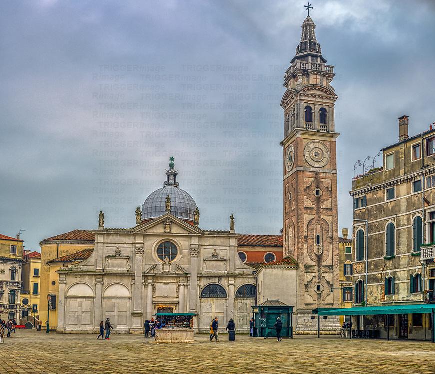 North side of Santa Maria Formosa church, Castello sestiere, Venice, Italy.