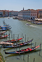 A grand view across the Grand Canal to the fish market from the Ca' Sagredo, Venice, Italy.