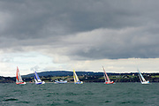 Thierry CHABAGNY (GEDIMAT), Tanguy LE TURQUAIS (NIBELIS), Charlie DALIN (MACIF), Nicolas LUNVEN (GENERALI), Adrien HARDY (AGIR Recouvrement) during the start of the Douarnenez Fastnet Solo 2017 on September 17, 2017 in Douarnenez, France - Photo Francois Van Malleghem / ProSportsImages / DPPI