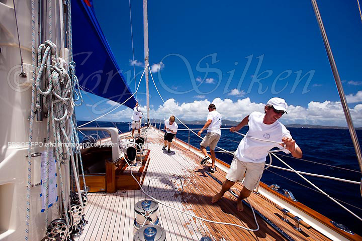 Sailing onboard Rebecca in the Old Road Race at the Antigua Classic Yacht Regatta.