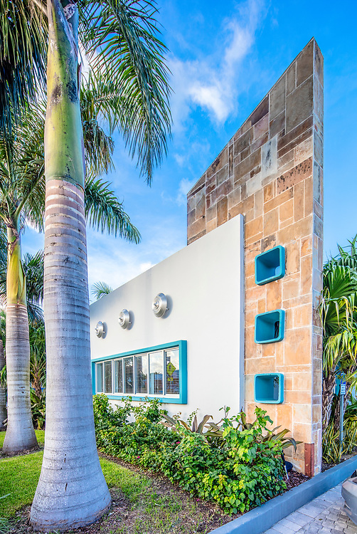 The recently restored, Miami Modern (MiMo) style Vagabond Motel was designed by architect Robert Swartburg in 1953.