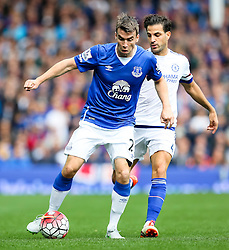 Everton's Seamus Coleman is chased by Cesc Fabregas of Chelsea  - Mandatory byline: Matt McNulty/JMP - 07966386802 - 12/09/2015 - FOOTBALL - Goodison Park -Everton,England - Everton v Chelsea - Barclays Premier League