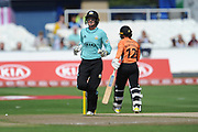 Sarah Taylor of Surrey Stars celebrates the wicket of Tammy Beaumont during the Women's Cricket Super League match between Southern Vipers and Surrey Stars at the 1st Central County Ground, Hove, United Kingdom on 14 August 2018.