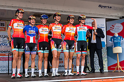 Riders of Boels Dolmans Cycling Team with Ellen van Dijk and Megan Guarnier on the podium for the sign-on at the Holland Ladies Tour, Zeddam, Gelderland, The Netherlands, 1 September 2015.<br /> Photo: Pim Nijland / PelotonPhotos.com