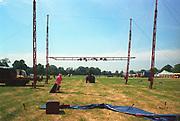 Tent construction, at Glastonbury, 1989.