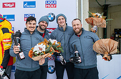 19.01.2020, Olympia Eiskanal, Innsbruck, AUT, BMW IBSF Weltcup Bob und Skeleton, Igls, Bob Viersitzer, Herren, Siegerehrung, im Bild dritter Platz Pilot Church Hunter mit Wilcox Kyle, Williamson Joshua, Reed James (USA) // third Place Pilot Church Hunter with Wilcox Kyle Williamson Joshua Reed James of the USA during the winner ceremony for the four-man Bobsleigh competition of BMW IBSF World Cup at the Olympia Eiskanal in Innsbruck, Austria on 2020/01/19. EXPA Pictures © 2020, PhotoCredit: EXPA/ Peter Rinderer