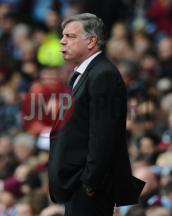 West Ham Manager, Sam Allardyce cuts a dejected figure  - Photo mandatory by-line: Joe Meredith/JMP - Mobile: 07966 386802 - 09/05/2015 - SPORT - Football - Birmingham - Villa Park - Aston Villa v West Ham United - Barclays Premier League