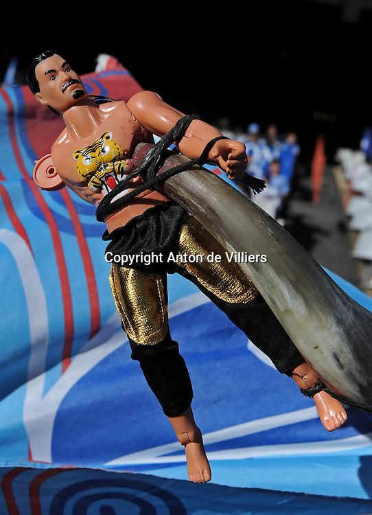 A Speared Chief on a Bulls horn.<br /> Rugby - 090530 - Super 14 - FINAL - Vodacom Bulls vs Chiefs - LOFTUS - Pretoria - South Africa. The Bulls won 61 - 17.<br /> Photographer : Anton de Villiers / SASPA