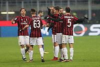 Milano - 10.12.2017 -   Milan-Bologna - Serie A 16a giornata   - nella foto:  l'esultanza dei giocatori del  milan  a fine partita