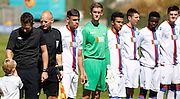 Palace line up before the Pre-Season Friendly match between Lewes FC and Crystal Palace at the Dripping Pan, Lewes, United Kingdom on 1 August 2015. Photo by Michael Hulf.