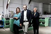 Eleonora Bardoni, Simone Pachi e Mario pachi dell'azienda Pielle. Binasco, Milano.