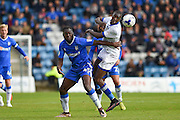 Gillingham forward Frank Nouble (45) and Oldham Athletic midfielder Ousmane Fane (24) during the EFL Sky Bet League 1 match between Gillingham and Oldham Athletic at the MEMS Priestfield Stadium, Gillingham, England on 8 October 2016. Photo by Martin Cole.