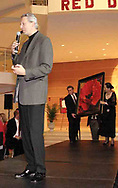 "Artist Simon Bull talks as a 36"" x 36"" Master Edition of his ""Lady in Red"" is brought to the runway to be auctioned at the 2007 Wellness Connection Red Dress Gala, at the Schuster Performing Arts Center in Dayton, Saturday night, May 5th."