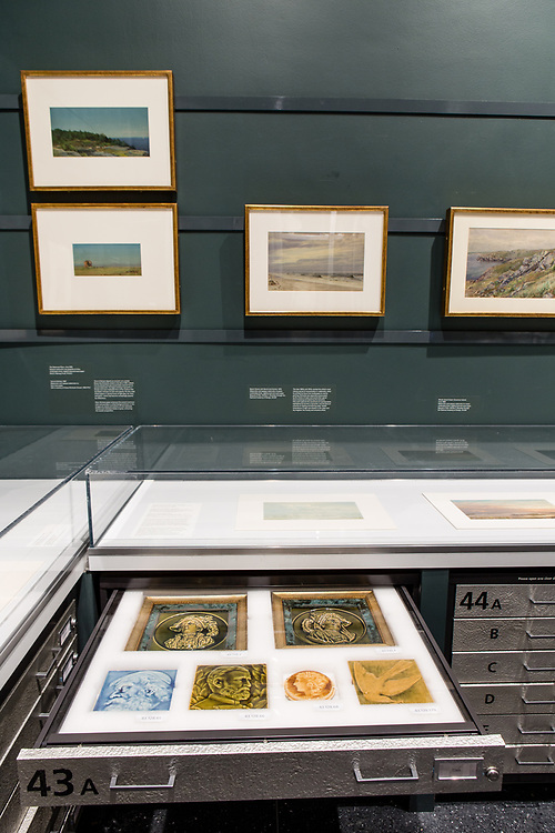 Watercolors by American painter William Trost Richards on the wall of the Luce Center for American Art Visible Storage Study Collection of the Brooklyn Museum. In the drawers nelow are other artifacts from the collection.