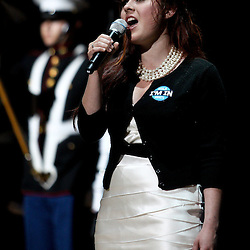 April 11, 2011; New Orleans, LA, USA; Singer Amanda Shaw performs the national anthem prior to tip off of a game between the New Orleans Hornets and the Utah Jazz at the New Orleans Arena.  Mandatory Credit: Derick E. Hingle