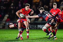 Ollie Lawrence of Worcester Warriors is tackled by Connor Edwards of Dragons - Mandatory by-line: Craig Thomas/JMP - 02/02/2018 - RUGBY - Rodney Parade - Newport, Gwent, Wales - Dragons v Worcester Warriors - Anglo Welsh Cup