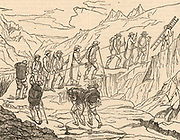 Henri-Benedict de Saussure (1740-1799) Swiss physicist, geologist and alpinist making his ascent of Mont Blanc, September 1787. This was the third successful ascent of Mont Blanc. Wood engraving c1850.