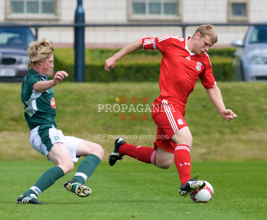 KIRKBY, ENGLAND - Saturday, July 26, 2008: Liverpool's captain Joe Kennedy in action against Plymouth Argyle during a pre-season friendly match at the Academy. (Pic by David Rawcliffe/Propaganda)