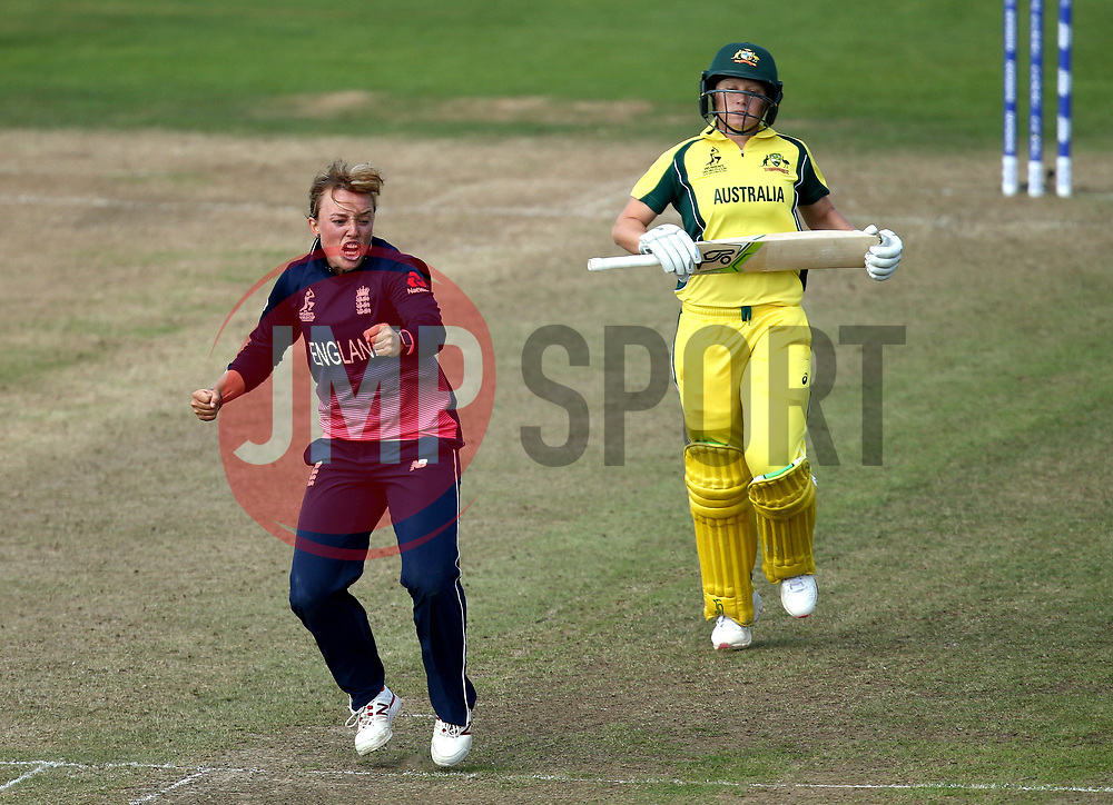 Danielle Hazell of England Women celebrates taking the wicket of Alyssa Healy of Australia Women - Mandatory by-line: Robbie Stephenson/JMP - 09/07/2017 - CRICKET - Bristol County Ground - Bristol, United Kingdom - England v Australia - ICC Women's World Cup match 19