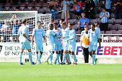 Bristol City's Greg Cunningham celebrates with his team mates after scoring. - Photo mandatory by-line: Dougie Allward/JMP - Tel: Mobile: 07966 386802 11/08/2013 - SPORT - FOOTBALL - Sixfields Stadium - Sixfields Stadium -  Coventry V Bristol City - Sky Bet League One