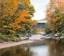 Covered bridge over Black Creek, along State Highway 108, north of Jeffersonville, Vermont.