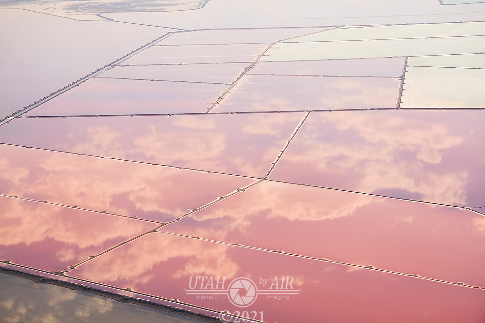 Clouds Reflecting on Salt Evaporation Ponds at the Great Salt Lake, Utah