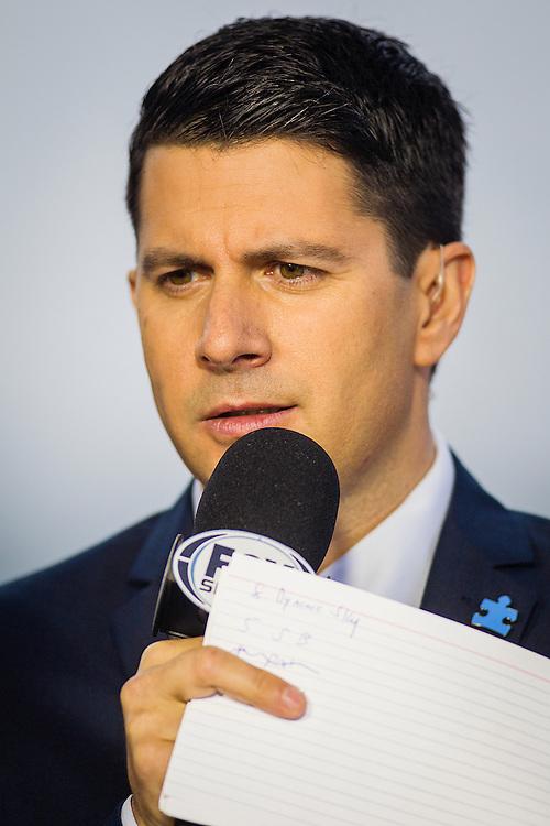 February 07 2015: The Fox Sports 1 on air talent at Santa Anita Park in Arcadia CA. Alex Evers/ESW/CSM`