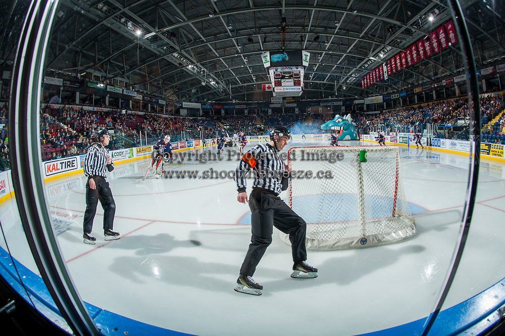 KELOWNA, CANADA - JANUARY 27: Referee Jeff Ingram skates behind the Kamloops Blazers' net at the Kelowna Rockets on January 27, 2017 at Prospera Place in Kelowna, British Columbia, Canada.  (Photo by Marissa Baecker/Shoot the Breeze)  *** Local Caption ***