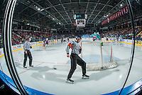 KELOWNA, CANADA - JANUARY 27: Referee Jeff Ingram skates behind the Kamloops Blazers' net at the Kelowna Rockets on January 27, 2017 at Prospera Place in Kelowna, British Columbia, Canada.  (Photo by Marissa Baecker/Shoot the Breeze)  *** Local Caption ***