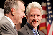 Washington, DC , USA, May 12th 2005: Former Presidents George H. W. Bush and Bill J. Clinton, held each a briefing and an appeal for further support at the Private Sector Summit for Post- Tsunami Reconstruction & rehabilitation at the Ronald Reagan Building & International Trade Center. Richard Holbrooke, chairman in the Asia Society, was moderator.