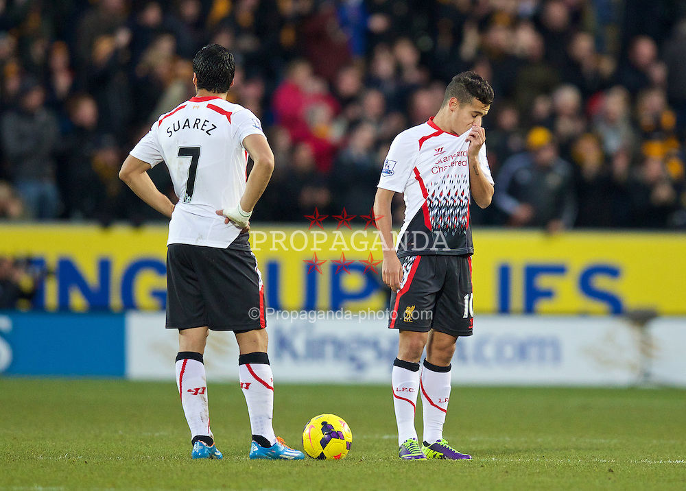 HULL, ENGLAND - Sunday, December 1, 2013: Liverpool's Philippe Coutinho Correia looks dejected as Hull City score the second goal during the Premiership match at the KC Stadium. (Pic by David Rawcliffe/Propaganda)