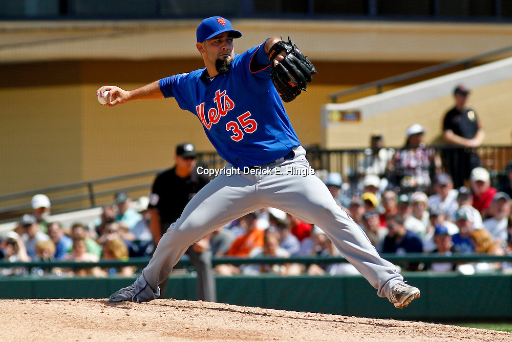 March 14, 2012; Lakeland, FL, USA; New York Mets starting pitcher Dillon Gee (35) against the Detroit Tigers during a spring training game at Joker Marchant Stadium. Mandatory Credit: Derick E. Hingle-US PRESSWIRE