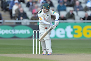 Chris Read gets on in the midriff from Neil Wagner (not shown) during the Specsavers County Champ Div 1 match between Lancashire County Cricket Club and Nottinghamshire County Cricket Club at the Emirates, Old Trafford, Manchester, United Kingdom on 17 April 2016. Photo by Simon Trafford.