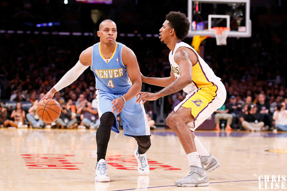 05 January 2014: Los Angeles Lakers small forward Nick Young (0) defends on Denver Nuggets shooting guard Randy Foye (4) during the Denver Nuggets  137-115 victory over the Los Angeles Lakers at the Staples Center, Los Angeles, California, USA.