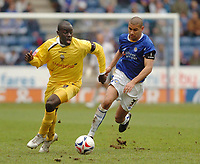 Photo: Leigh Quinnell.<br /> Leicester City v Preston North End. Coca Cola Championship. 15/04/2006. Prestons Patrick Agyemang gets away from Leicesters Patrick Kisnorbo.