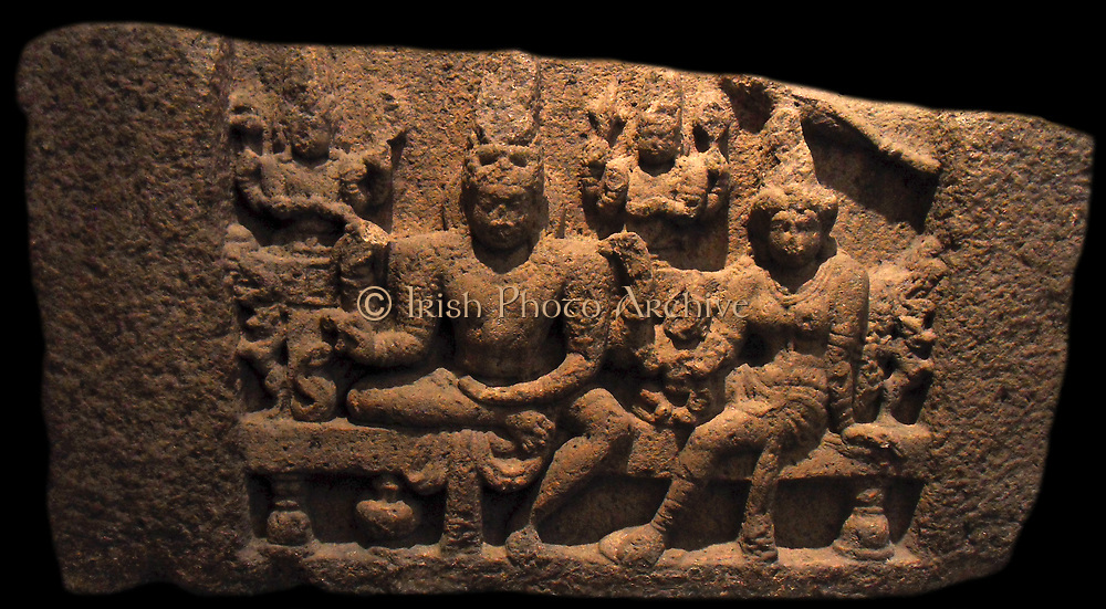 Siva Somaskandamurti. 7th-8th century Somaskandamurti Siva with his consort Parvati and their son Skanda. Indian, Pallava dynasty (4th-9th century AD) granite sculpture