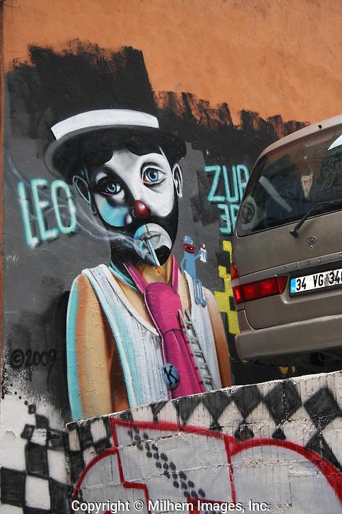Interesting composition of graffiti on a Karakoy building, Istanbul, Turkey. September 2009.
