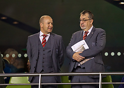 DUBLIN, IRELAND - Tuesday, October 16, 2018: Football Association of Wales Chief-Executive Jonathan Ford (L) and President Kieran O'Connor (R) before the UEFA Nations League Group Stage League B Group 4 match between Republic of Ireland and Wales at the Aviva Stadium. (Pic by David Rawcliffe/Propaganda)