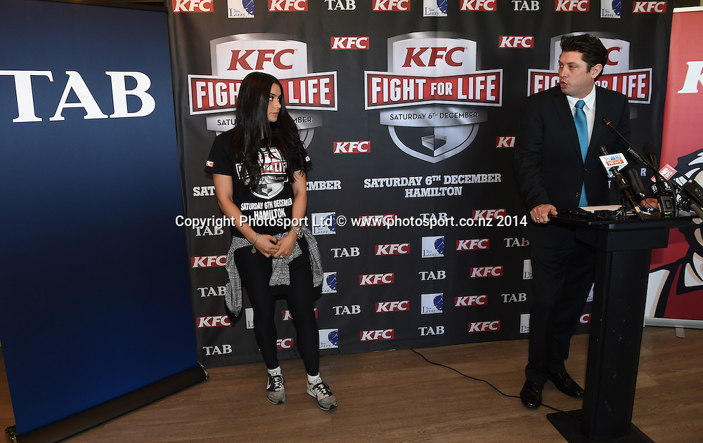 Millie Elder-Holmes and Craig Stanaway during a press conference for the KFC Fight For Life by Duco Events. Auckland, New Zealand. Wednesday 3 December 2014. Photo: Andrew Cornaga/www.photosport.co.nz.
