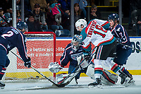 KELOWNA, CANADA - JANUARY 3: Carsen Twarynski #18 of the Kelowna Rockets scores his second goal of the first period on Patrick Dea #30 of the Tri-City Americans on January 3, 2017 at Prospera Place in Kelowna, British Columbia, Canada.  (Photo by Marissa Baecker/Shoot the Breeze)  *** Local Caption ***