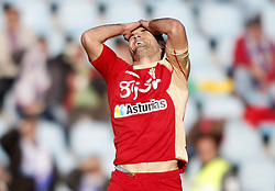 07.04.2012, Stadion Coliseum Alfonso Perez, Getafe, ESP, Primera Division, FC Getafe vs Sporting Gijon, 32. Spieltag, im Bild Sporting de Gijon's David Barral dejected // during the football match of spanish 'primera divison' league, 32th round, between FC Getafe and Sporting Gijon at Coliseum Alfonso Perez stadium, Getafe, Spain on 2012/04/07. EXPA Pictures © 2012, PhotoCredit: EXPA/ Alterphotos/ Alvaro Hernandez..***** ATTENTION - OUT OF ESP and SUI *****