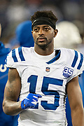 NASHVILLE, TN - DECEMBER 30:  Dontrelle Inman #15 of the Indianapolis Colts on the sidelines during a game against the Tennessee Titans at Nissan Stadium on December 30, 2018 in Nashville, Tennessee.  The Colts defeated the Titans 33-17.   (Photo by Wesley Hitt/Getty Images) *** Local Caption *** Dontrelle Inman