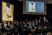 """London, England, UK, October 4 2018 - """"Post War and Contemporary Art"""" evening auction at Christie's, conducted by its global president and main auctioneer Jussi Pylkkänen."""