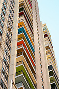 Apartments over Cross Bronx Expressway with colored balconies. Balconies no loner look this way (2018)