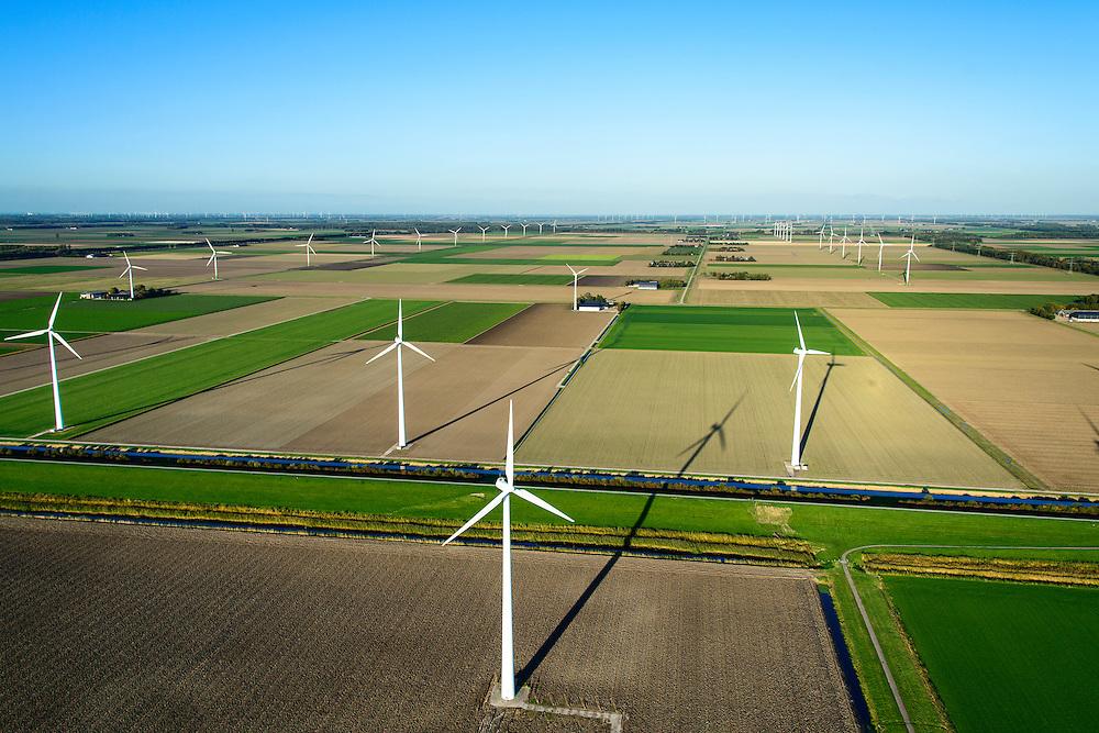 Nederland, Flevoland, Zeewolde, 24-10-2013; windmolens langs de Hoge Vaart in de Flevopolder  vormen een windmolenpark (windpark).<br /> Wind turbines of a wind farm in the Flevopolder.<br /> luchtfoto (toeslag op standard tarieven);<br /> aerial photo (additional fee required);<br /> copyright foto/photo Siebe Swart