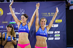 Third placed Jelena Pesic and Ana Skarlovnik during flower ceremony after the FIVB  Beach Volleyball World Tour Ljubljana 2018, on August 5, 2018 in Kongresni trg, Ljubljana, Slovenia. Photo by Ziga Zupan / Sportida