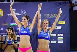 Third placed Jelena Pesic and Ana Skarlovnik during flower ceremony after the FIVB  Beach Volleyball World Tour Ljubljana 2018, on August 5, 2018 in Kongresni trg, Ljubljana, Slovenia. Photo by Ziga Zupan / Sportida