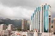 Tall buildings in downtown Honolulu, Hawaii.